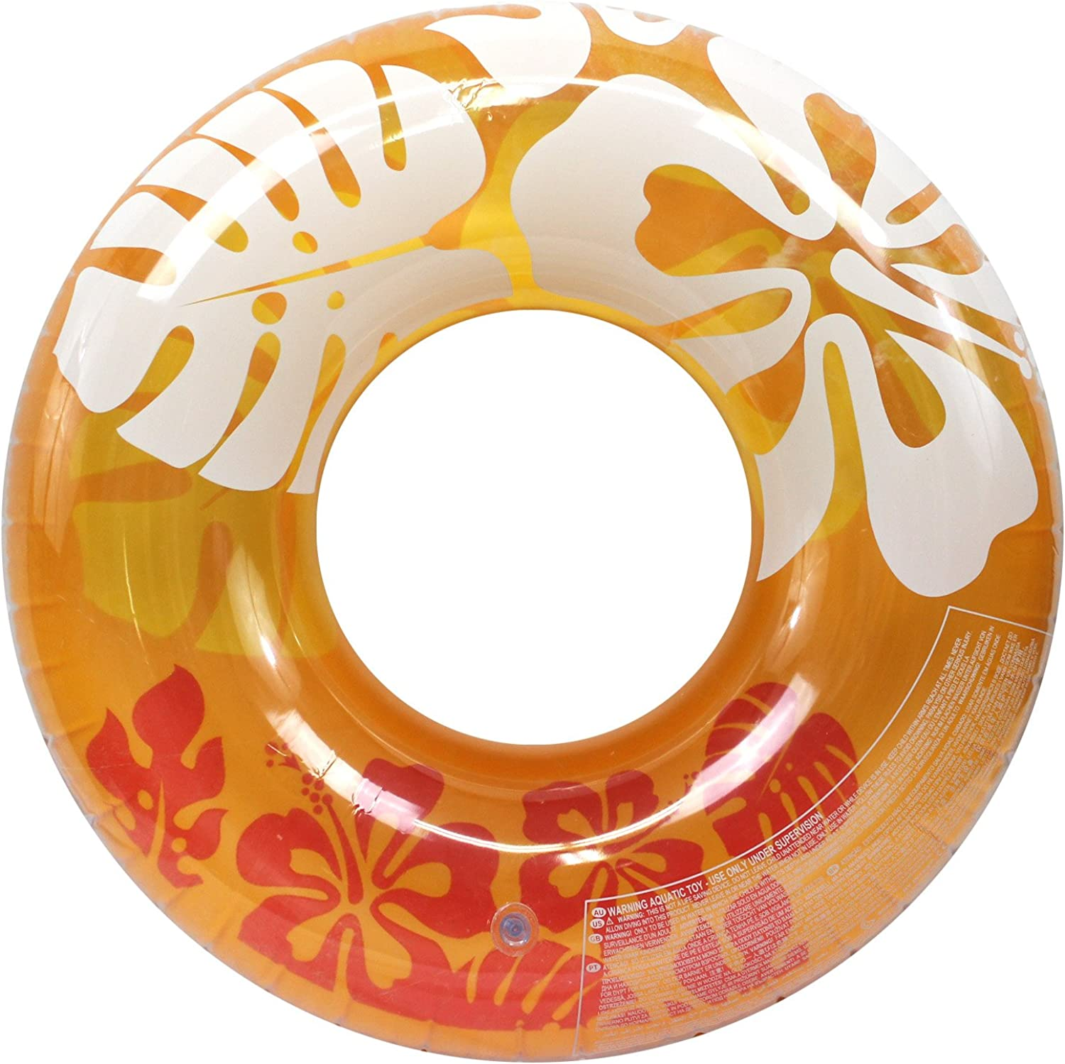 Enimay 36  Clear color Summer Swimming Tube Flower Water Ring Toy orange
