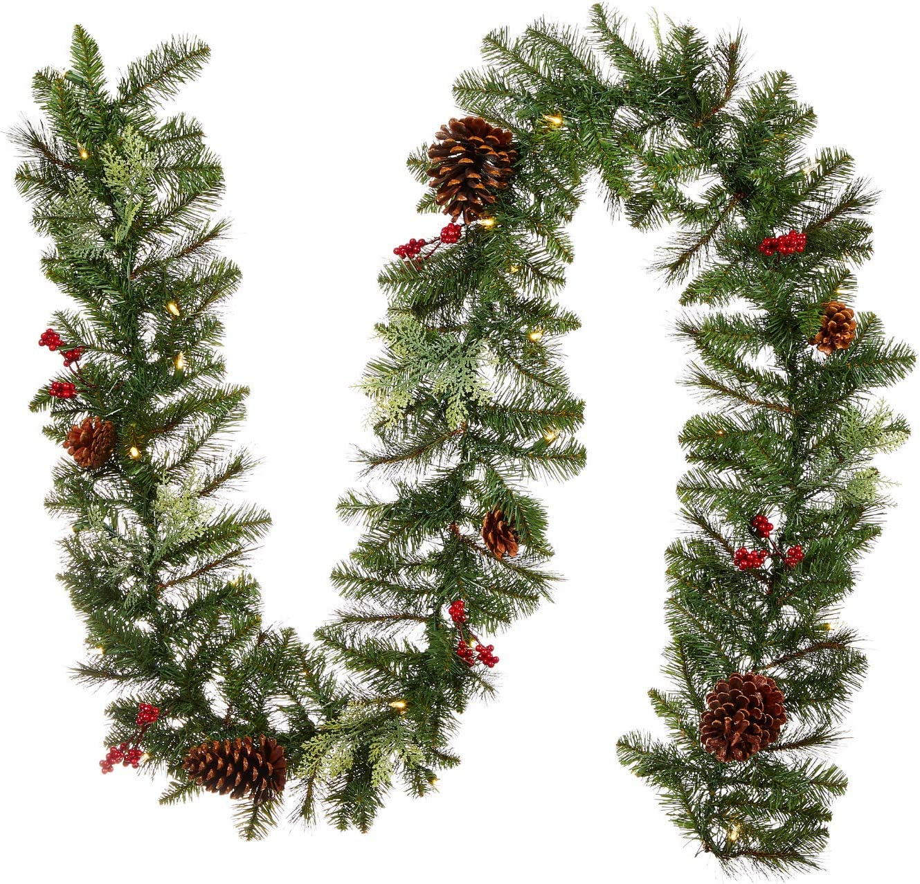 NOMA Pre-lit 9-Ft LED Berries Pinecones Christmas Sales for sale Garland with Raleigh Mall