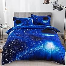 طقم غطاء لحاف جالاكسي الملكة الحجم الأزرق غالاكسي غطاء السرير القابل للعكس (1 غطاء لحاف + 2 غطاء وسائد) مجموعة غطاء لحاف ذ...
