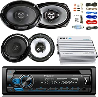 "Pioneer DEH-X4900BT Car Bluetooth Radio USB AUX CD Player Receiver - Bundle Combo With 2x Kenwood 6.5"" 2-Way Black Car Coaxial Speakers + 2x 6x9"" Inch 3-Way Speaker + 4-Channel Amplifier + Amp Kit"