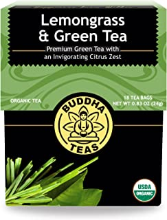 Organic Lemongrass & Green Tea – 18 Bleach-Free Tea Bags – Energizing, Caffeinated Tea, Light and Refreshing Coffee Altern...