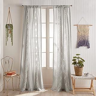 "Peri Home Cut Geo Sheer Cotton Back Tab Window Curtain Panel Pair, 95"", Grey"