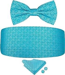 Mens Cummerbund and Pre tied Bow Tie Pocket Square Cufflinks Set