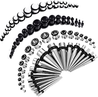 72PC Gauges Kit Acrylic Plugs Stainless Steel Tapers 14G-00G Ear Stretching Piercing Set
