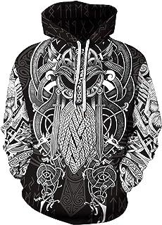 JooMeryer Men's Viking Hoodie 3D Graphic Print Hooded Sweatshirt Plus Size S-5XL