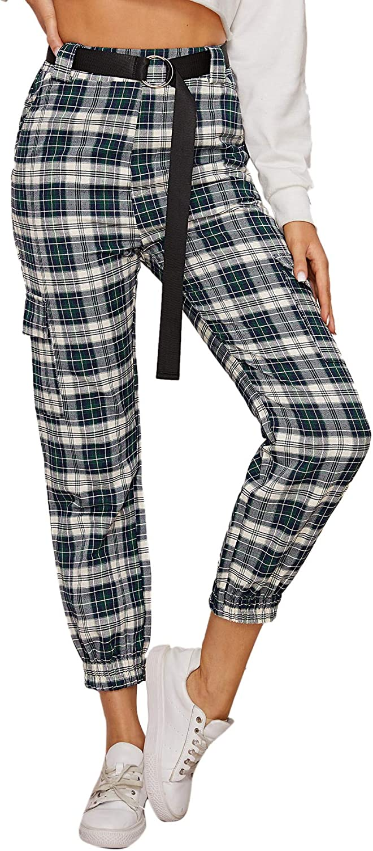 WDIRARA Women's Plaid Cargo Tartan Flap Pocket Front Casual Pants
