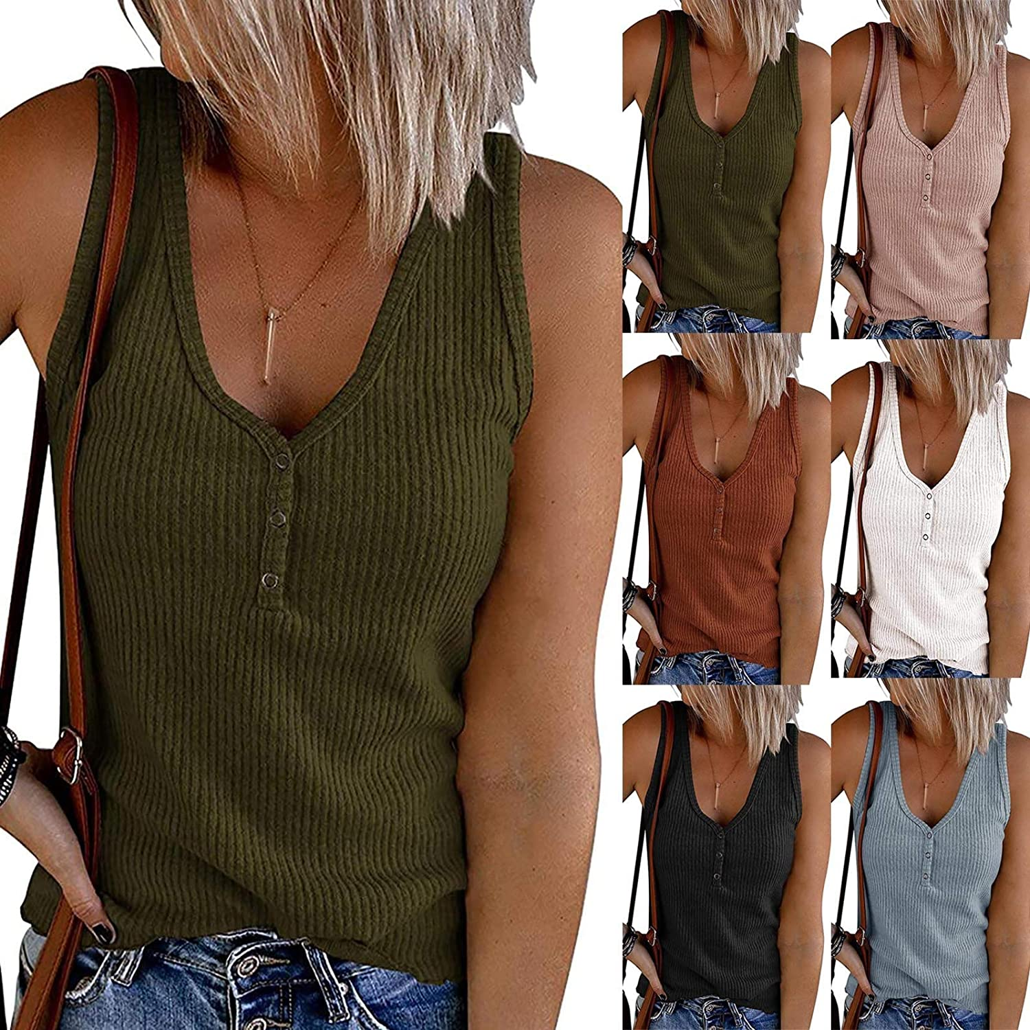 Gerichy Casual Tank Tops for Women Summer, Womens Vest Tops Fashion Graphic Printed Sleeveless Blouse Loose Fit Shirts