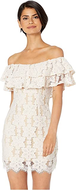 Leyla Off Shoulder Lace Ruffle Mini Dress