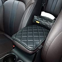 AMEIQ Car Armrest Cushion Pad, Tissue Holder and Paper Napkin Box, Center Console Mat, Seat Box Cover Protector, PU Leather Universal Fit, Black