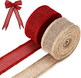 2 Rolls Burlap Wired Ribbons 10 Yards Solid Color Wired Edge Ribbons Wrapping Craft Ribbons for Home Decor, Wreaths, DIY C...
