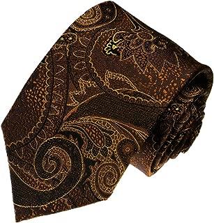 Luxury Italian 100% Silk Tie Brown Black Gold Paisley - 36018
