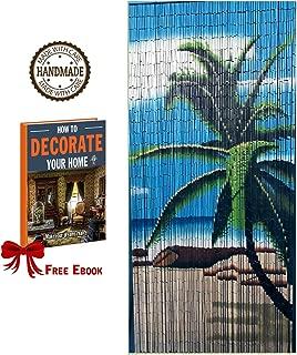 TACHILC Bamboo Beaded Curtains for Doorways, Door Beads Curtains, Hanging Bamboo Curtain - Beach Tree