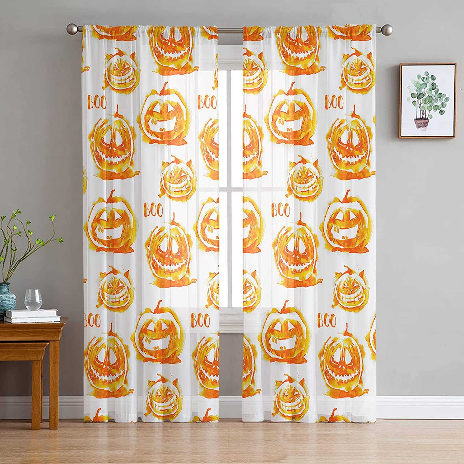 2 Panels Branded goods sold out Semi Sheer Voile Pumpkins with Curtains Watercolor Grim