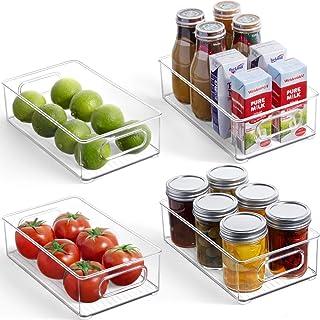 4-pack kylorganisatörslådor - BPA-fria stapelbara plastlådor med handtag, frys matförvaringsbehållare för kylskåp, skåp, k...