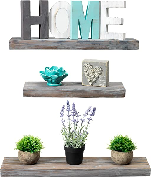 Rustic Farmhouse 3 Tier Floating Wood Shelf Floating Wall Shelves Set Of 3 Hardware And Fasteners Included White Wash 3 Tier