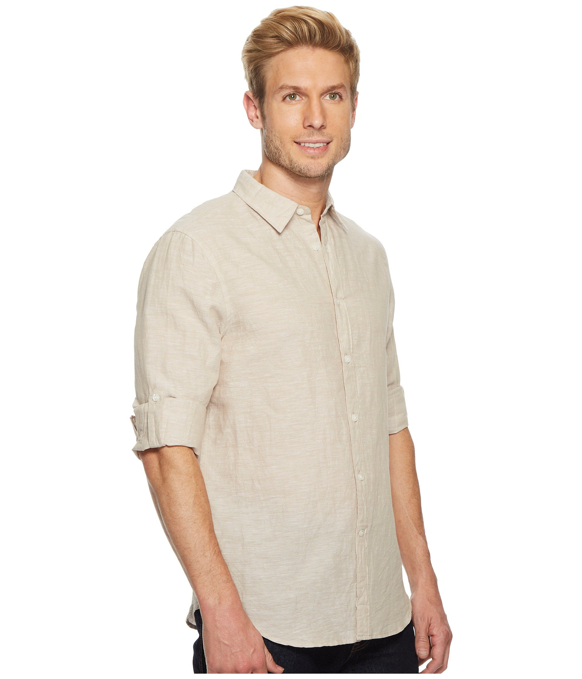 sleeve Solid Linen Rolled Shirt Natural Ellis Cotton Perry xanqAPSgTa