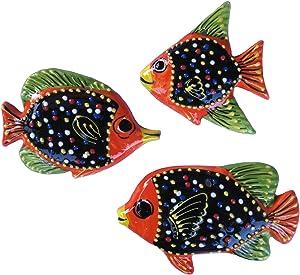 Cactus Canyon Ceramics Spanish 3-Piece Fish Wall Hanger Set, Negro