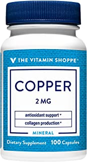 The Vitamin Shoppe Copper 2MG (Copper Gluconate), Antioxidant for Iron Metabolism, Once Daily Essential Mineral Supplement...