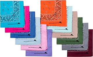 Bandanas 100% Cotton Since 1898-12 Pack Assorted Colors