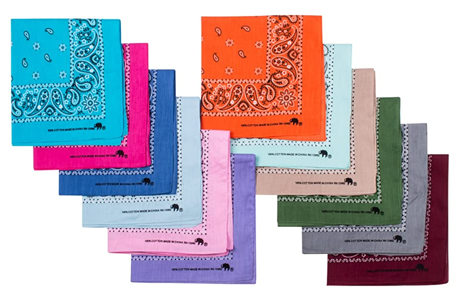 Elephant Brand Bandanas 100% Cotton Since 1898-12 Pack Assorted Colors