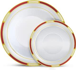 Laura Stein Designer Dinnerware Set | 64 Disposable Plastic Party Bowls | White Bowl with Burgandy Rim & Gold Accents | Includes 32 x 12 oz Soup Bowls + 32 x 5 oz Dessert Bowls | Venetian
