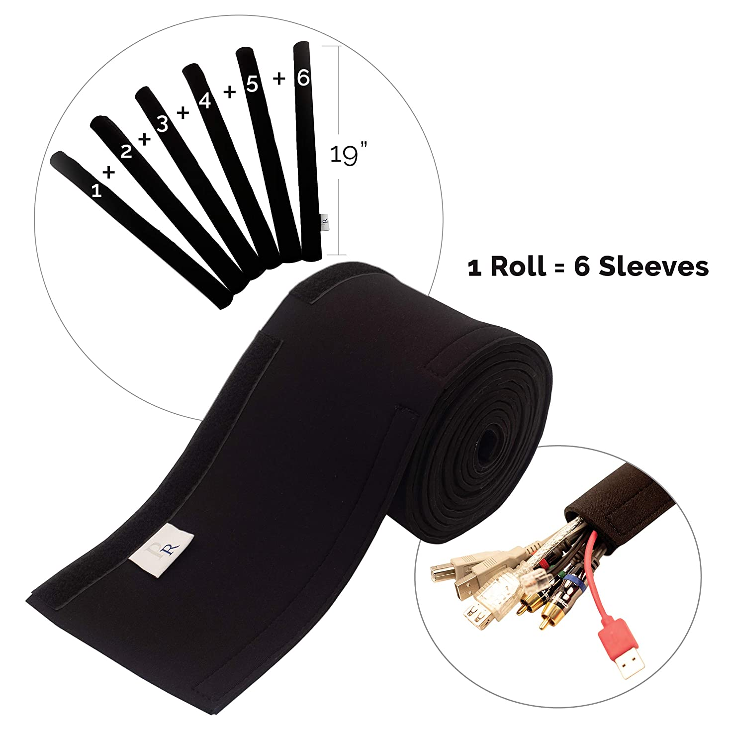 "P.Rendelle Under Desk Cable Management Sleeve. A Neoprene Flexible Wire Hider Cord Organizer & Cable Cover. Hides All Your TV and Computer Wires in Home & Office (One Roll Gives 6 x 19"" Sleeves) ugbyjmibkvcnf9"