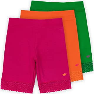 Lucky & Me Jada Little Girls Bike Shorts, Tagless, Soft Cotton, Lace Trim, Underwear, 3 Pack