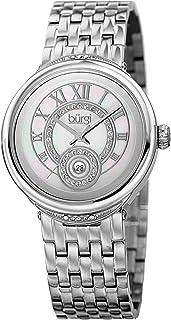 Burgi Women Glamour Diamond Watch With Centre Dial and -Tone Bracelet, Analog Display