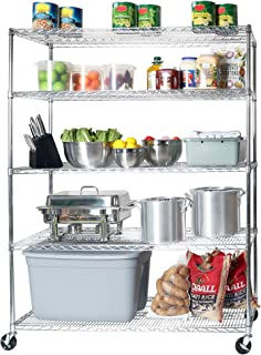 Seville Classics MEGA Rack UltraDurable Commercial-Grade 5-Tier NSF-Certified Steel Wire Shelving with Wheels, 60