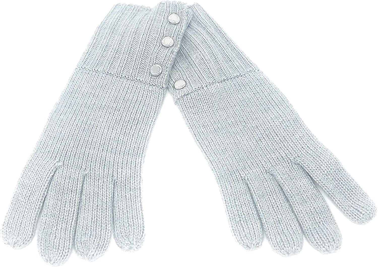 Michael Kors Grey Gloves With Silver Buttons, One Size