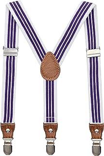 AYOSUSH Purple Striped Suspenders for Boys Girls Y Shape Colorful Wedding Braces