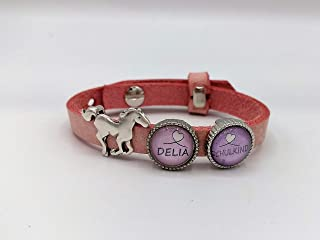 Einschulung Kinderarmband Schulkind Pferd personalisiert Lederarmband Armband Leder Schiebeperle Wunschname Schultüte Cabo...