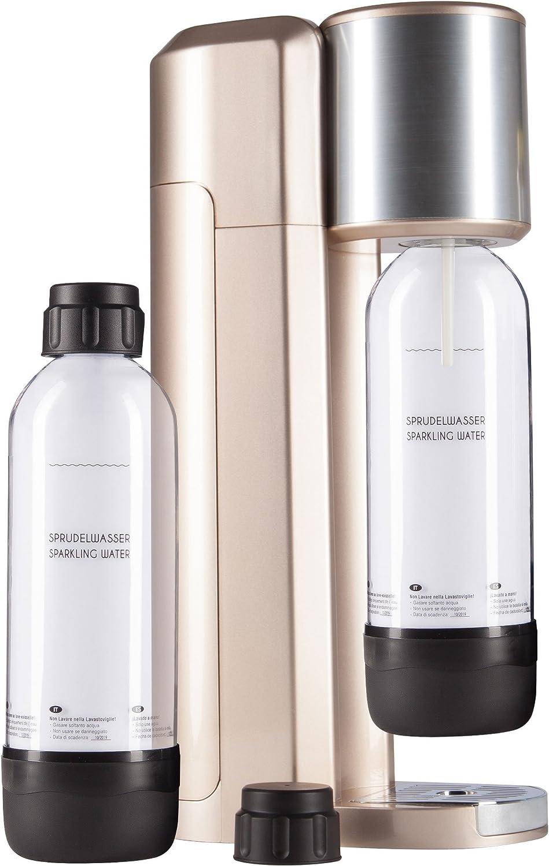 LEVIVO Gasificador de Agua, con 2 Botellas de de Plástico PET Resistente 1L, color oro rosa