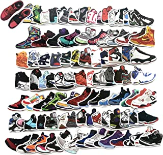 100 Pcs Fashion Brand Sneakers Basketball Shoes Sports Shoes Stickers for Laptop Stickers Motorcycle Bicycle Skateboard Luggage Decal Graffiti Patches Stickers[No-Duplicate Sticker Pack]