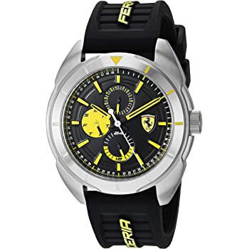 Ferrari Forza, Quartz Stainless Steel and Silicone Strap Casual Watch, Black, Men, 830575