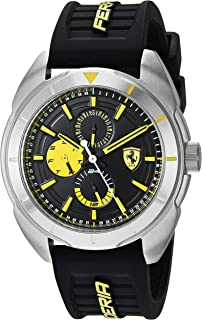 Forza, Quartz Stainless Steel and Silicone Strap Casual Watch, Black, Men, 830575