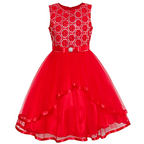 c5825c7a0 Sunny Fashion Flower Girls Dress Blue Belted Wedding Party Bridesmaid Age 4-12  Years