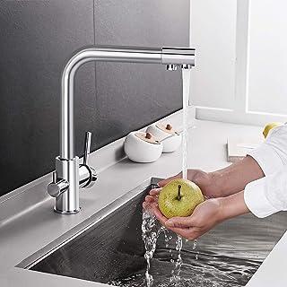 BONADE Grifo de Cocina con Purificador de Agua Grifo Fregadero Filtro de agua Rotación de 360° Plateado