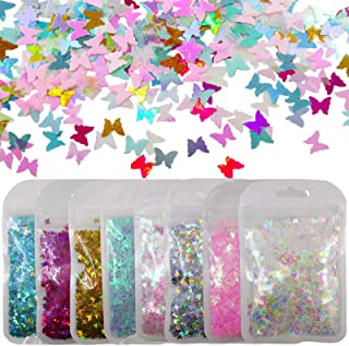 8 Colors Iirdescent Butterfly Chunky Glitter Flakes Mylar AB Pink Blue Holographic Butterflies Glitters Crafts Sequins Con...