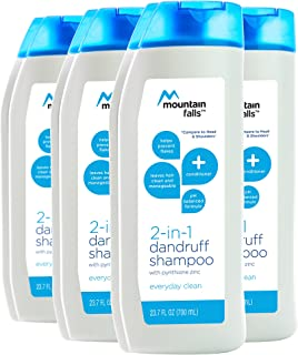Mountain Falls 2-in-1 Dandruff Shampoo and Conditioner, Everyday Clean, 23.7 Fluid Ounce (Pack of 4)