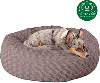 Furhaven Pet Dog Bed   Deep Dish Curly Faux Fur Refillable Ball Nest Cushion Donut Pet Bed w/ Removable Cover for Dogs & Cats, Cocoa Dust, Medium