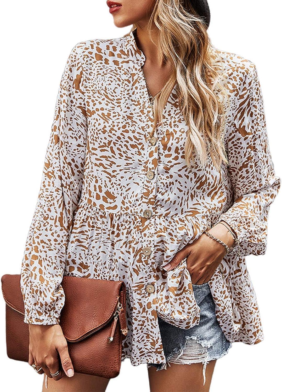 ayreus Women's Floral Prints V-Neck Blouse Shirts Button Down Long Sleeve Flowy Tunic Top