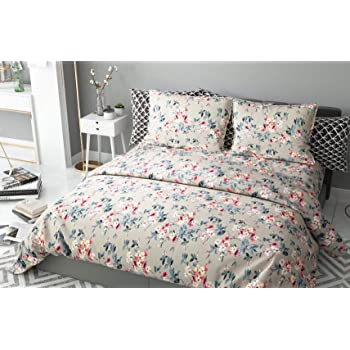 haus & kinder Chic Floral Art 100% Cotton Double Bedsheet with 2 Pillow Covers 186 TC (Beige)