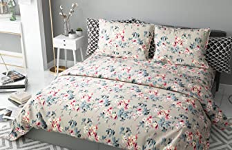 haus & kinder Chic Floral Art 100% Cotton Double Bedsheet with 2 Pillow Covers, 186 TC (Beige)