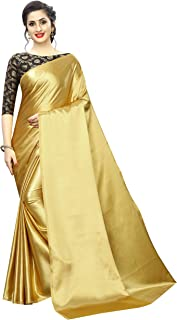 PERFECTBLUE Women's Satin Saree with Unstitched Blouse Piece (Matkasatin)