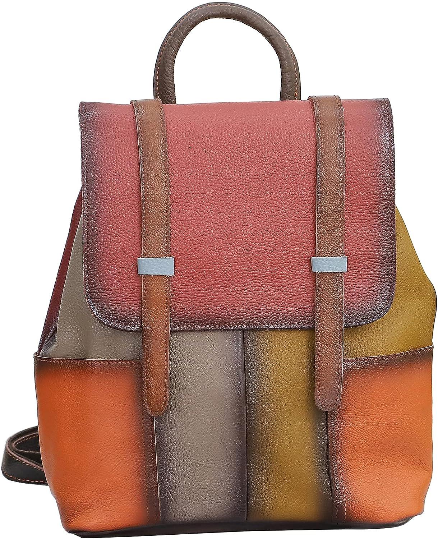 Segater Women Random Multicoloured Backpack Genuine Leather Shoulder Handbag Colorful Patchwork Purses Campus Travel Daypack