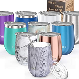 Wine Tumbler Vacuum Insulated Stemless - THILY 12 oz Triple-Insulated Stainless Steel Cute Wine Glass with Lid and Straw, Keep Cold or Hot for Coffee, Cocktails, Christmas Birthday Gift, Wood Grain