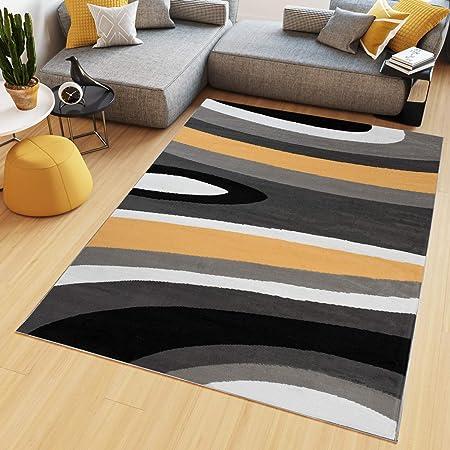 TAPISO Maya Tapis de Salon Chambre Ado Design Moderne Orange Noir Gris Blanc Géométrique Rayures Ondes Fin 80 x 150 cm