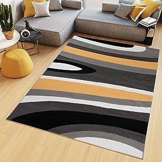 Tapiso Maya Tapis De Salon Chambre Ado Design Moderne Orange Noir Gris  Blanc Géométrique Rayures Ondes