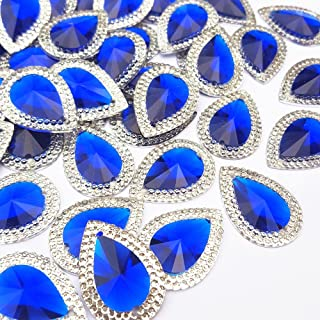 18x25mm 50pcs Loose Beads Drop Shape Rhinestones with Silver Edge Gems Stones and Crystals Wedding Decoration Sew-On for Stick-On Dance Costumes Shoes Bag Sewing 2 Holes (Blue)